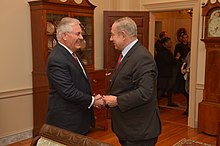 Netanyahu and US Secretary of State Rex Tillerson.