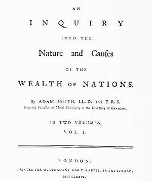 First page from Wealth of Nations, 1776 London...