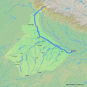 English: Map of the Yamuna River, a tributary ...