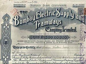 SHARE CERTIFICATE of the Bombay Electric Suppl...