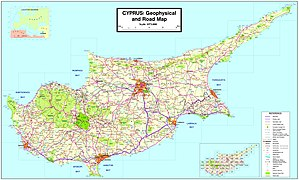 English: Map of Cyprus showing all Municipalit...