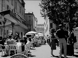 English: Arles, France, Place du Forum: In the...