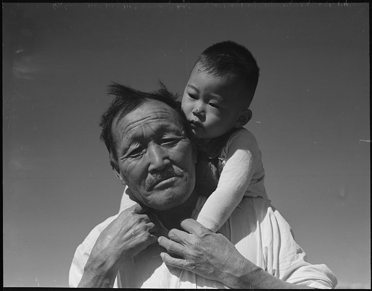 File:Manzanar Relocation Center, Manzanar, California. Grandfather and grandson of Japanese ancestry at . . . - NARA - 537994.jpg
