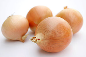 Onions on a neutral, mostly white background