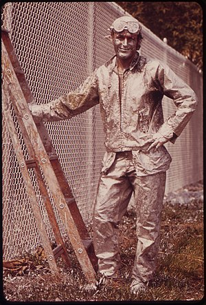 PAINTER WORKING ON CHAIN LINK FENCE - NARA - 5...