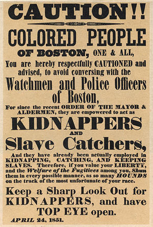 An April 24, 1851 poster warning colored peopl...