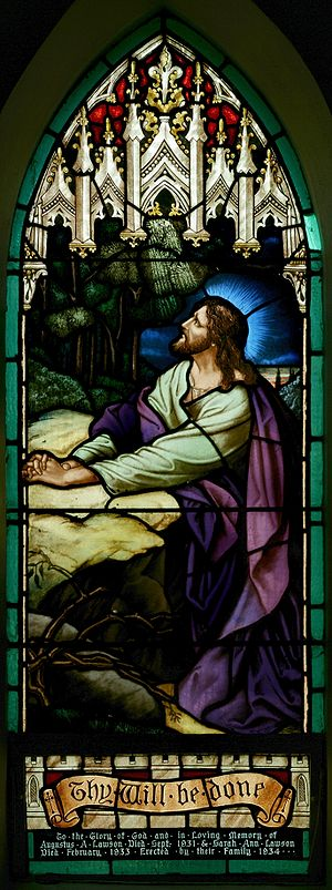 Stained glass panel in the chancel of St. John...