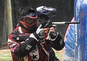 A speedball player shooting an Ego7.