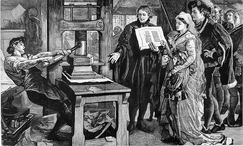 File:The Caxton Celebration - William Caxton showing specimens of his printing to King Edward IV and his Queen.jpg