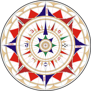 Replica of a wind rose from a chart of Jorge d...