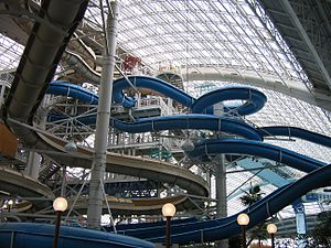 A collection of waterslides. Visible in this p...