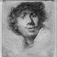 """Wide-Eyed Self-Portrait"" by Rembrandt"