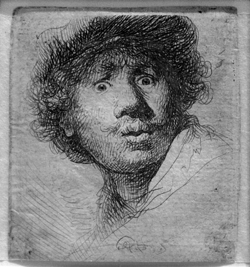 """""""Wide-Eyed Self-Portrait"""" by Rembrandt"""
