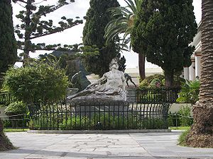 Achilles dying in the gardens of the Achilleion in Corfu