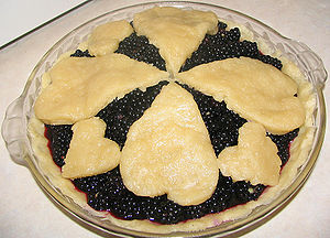 Blackberry pie made with a pastry crust