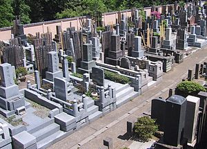 A graveyard in Tokyo. The boards behind the gr...