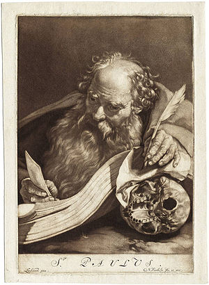 English: The apostle paul reading by candlelig...