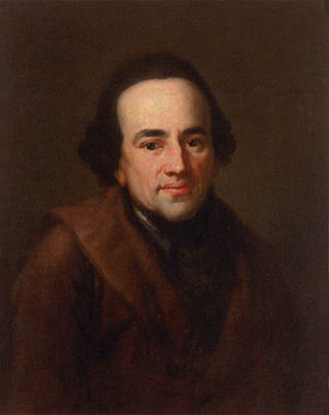 A picture of Moses Mendelssohn displayed in th...