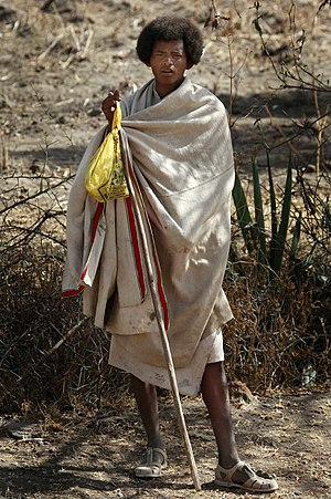 English: A boy in Ethiopia. The dress is very ...
