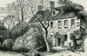 English: Engraving of the vicarage at Olney wh...