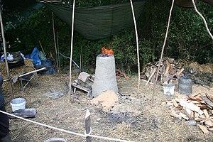 English: Prehistoric Experimental Iron Smeltin...