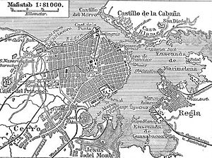 English: Map of Havana, Cuba (1888), showing 3...