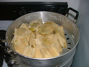 A batch of Mexican tamales in the tamalera