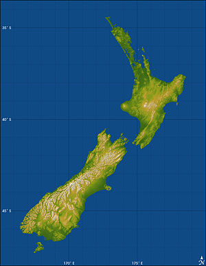 Topography of New Zealand.