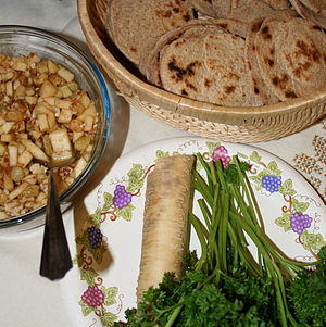 Some foods for a Passover Seder: (clockwise fr...