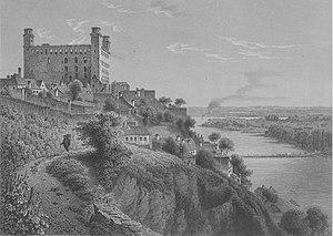 Burned-out Bratislava (Pressburg) Castle, mid-...