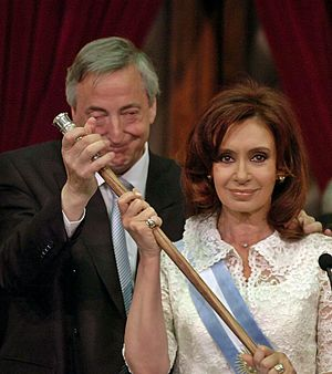 Néstor Kirchner, ending his presidential manda...