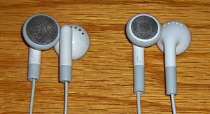 Two designs of iPod earphones. The current ver...