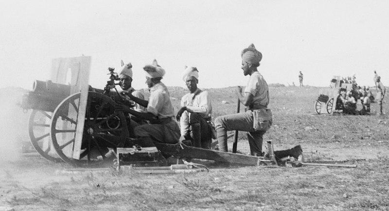 File:Indian Army QF 3.7 inch gun battery Jerusalem 1917.jpg