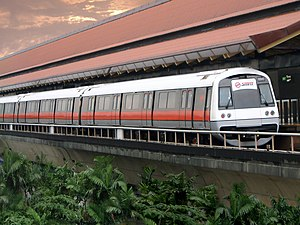 A C751B train at Eunos MRT Station on the Mass...
