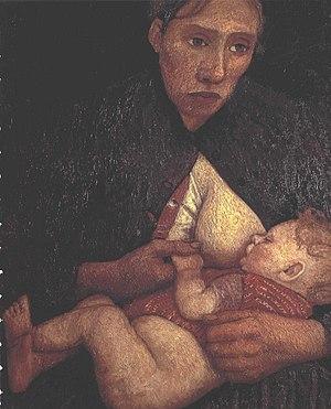 English: Breast feeding mother Deutsch: Stille...