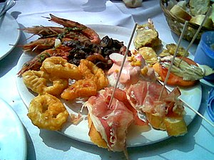Mmm! Feeling hungry? fried squid, shrimps, jamon