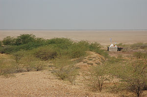 A rural temple in the middle of the Rann of Ku...