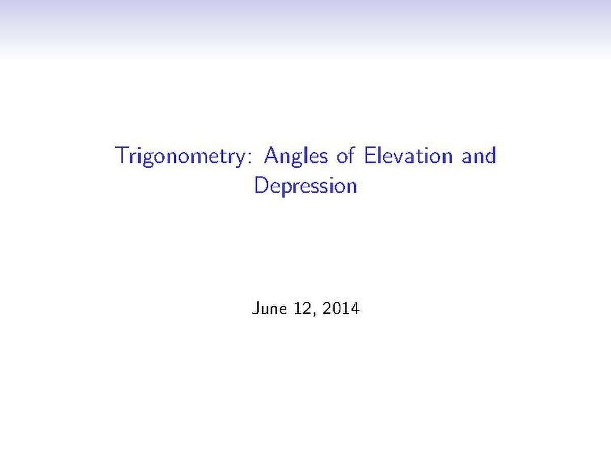 File Year 9 Trigonometry Angles Of Elevation And