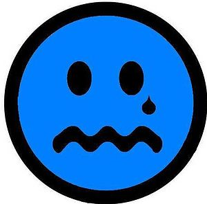 English: a crying blue face