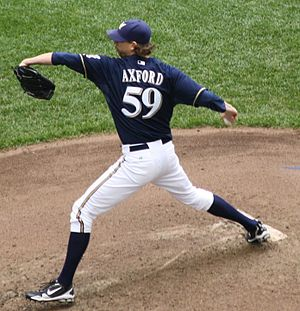 John Axford pitching at Miller Park in 2011. {...