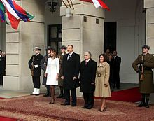 Aliyev with his wife during their visit to Poland.