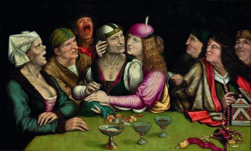 O Casamento Desigual, Quentin Metsys, séc. XVI. Pintura de uma mesa de jantar com personagens caricaturais, simbolizando um casamento.