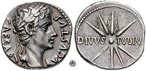 A denarius minted circa 18 BC. Obverse: CAESAR...