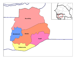 Map of the arrondissements of Sedhiou departme...