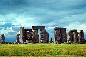 Stonehenge, England, erected by Neolithic peop...