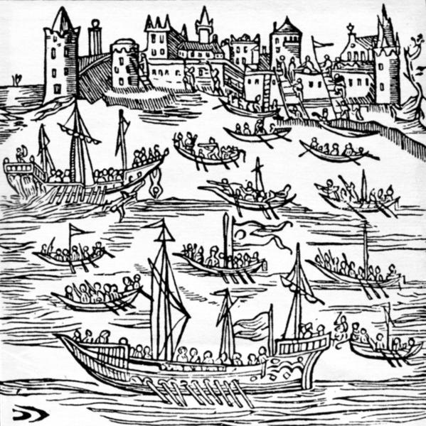 Ukrainian cossacks under the leadership of Petro Konashevych-Sahaidachny capture the Turkish sea-port of Caffa (Feodosia) in 1615.