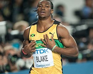 English: Yohan Blake during 2011 World champio...