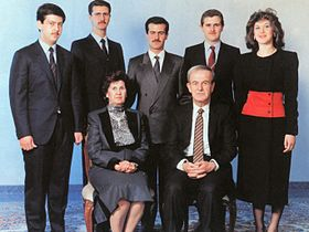 The al-Assad family, c.1993. At the front are Hafez and his wife, Anisa. At the back row, from left to right: Maher, Bashar, Bassel, Majd, and Bushra
