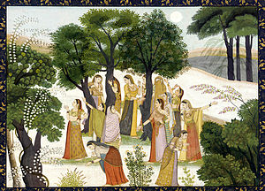 Gopis searching for Krishna, Bhagavata Purana,...