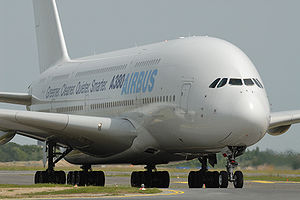 ILA 2008: body of an Airbus A380 which taxis a...
